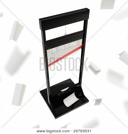 Black glossy guillotine as a deadline