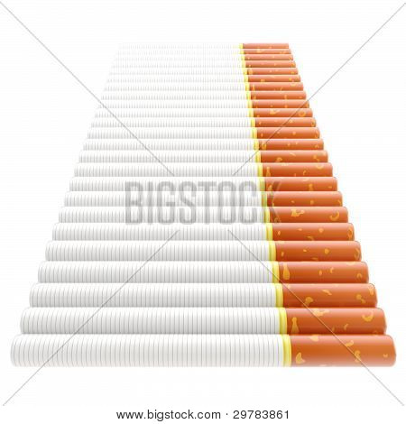 Smoking: staircase made of cigarettes