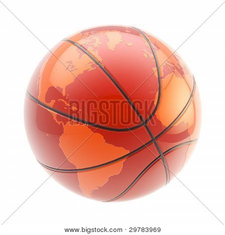 Basketball ball as an Earth planet sphere isolated