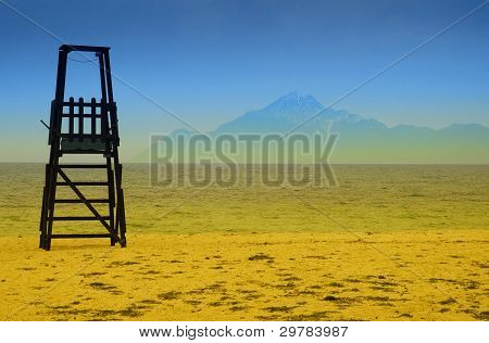 Baywatch tower in Greece with mount Athos on background