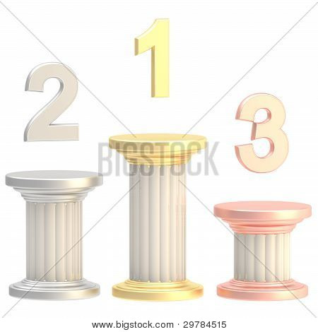 Winner pillars: first, second, third places
