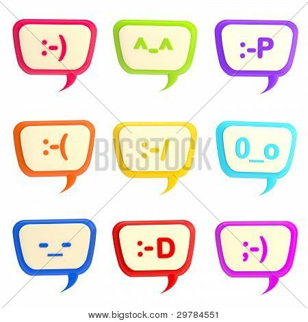 Set of nine text bubbles with smiles inside
