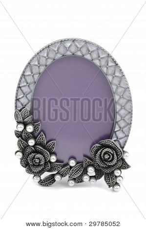Vintage Table Photo Frame On White Background