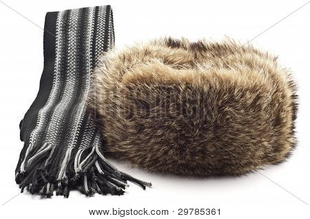 Winter Fur Hat And Scarf