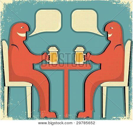 Two Men Drinking Glasses Of Beer.vintage Poster