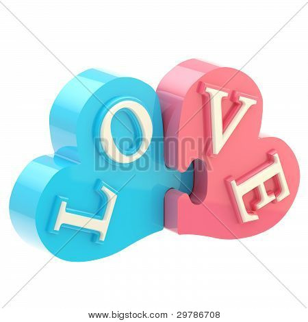 "Word ""love"" made of puzzle hearts"