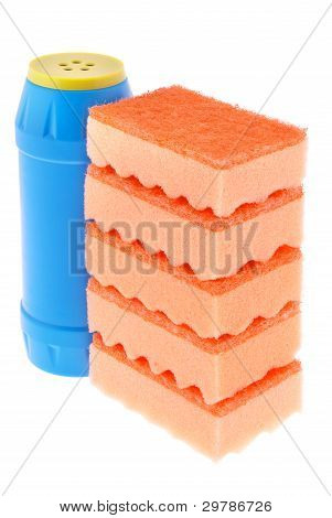 Sponges And A Bottle Of A Cleaner