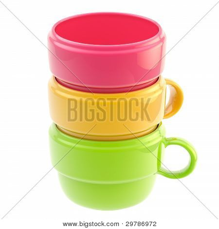 Three coffee cups one inside another