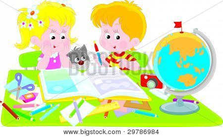 Girl and boy with a scrapbook