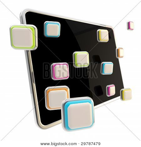 Application icons surround pad flat srceen