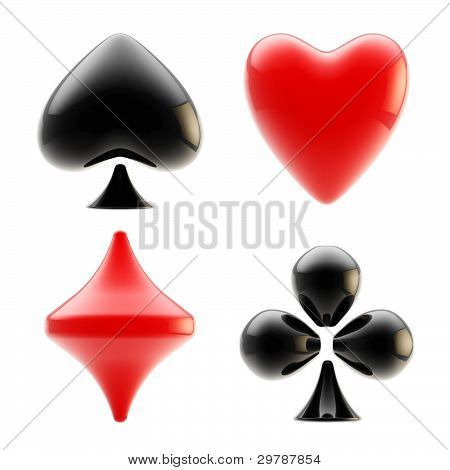 Set of four playing card suits isolated