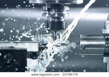 Close up of CNC machine at work