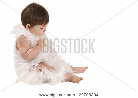 Baby With Whiye Boa