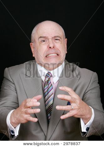 Business Man Choking Something