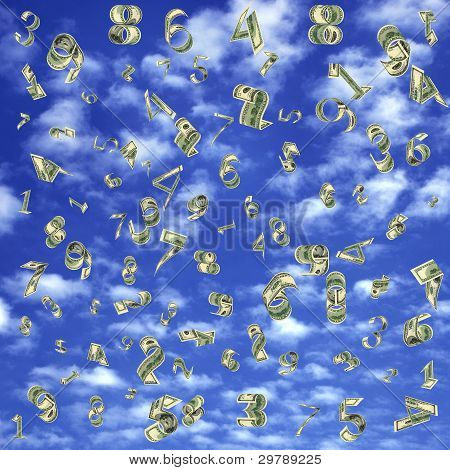 Dollars As Figures Fall From The Sky.