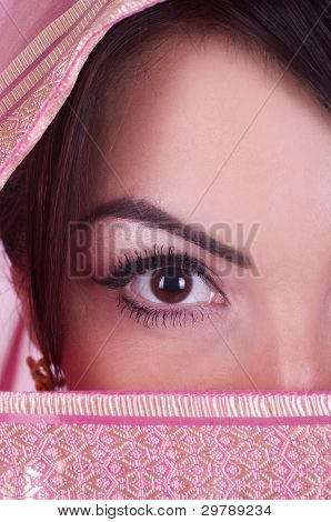 Beautiful womanish eye in pink yashmak