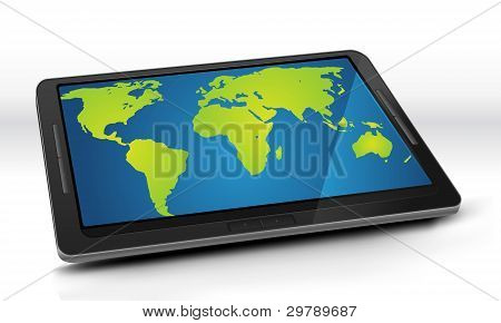 World Map On Tablet Pc