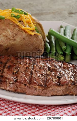 Closeup barbecue strip loin steak