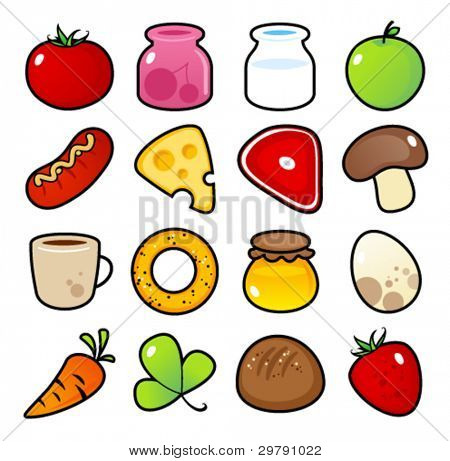 Colorful icons with food meals isolated.