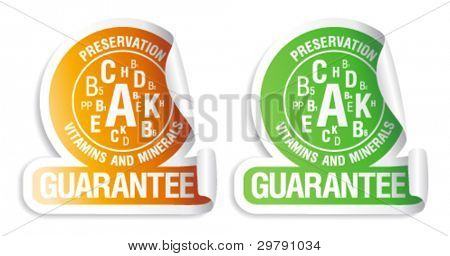 Preservation vitamins and minerals guarantee. Stickers for canned and frozen fruits and vegetables.