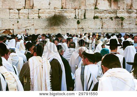 Jerusalém, Israel, judeu Pessach (Páscoa) celebração perto do muro das Lamentações.