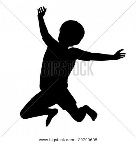 Vector silhouette of a healthy young child jumping high into the air