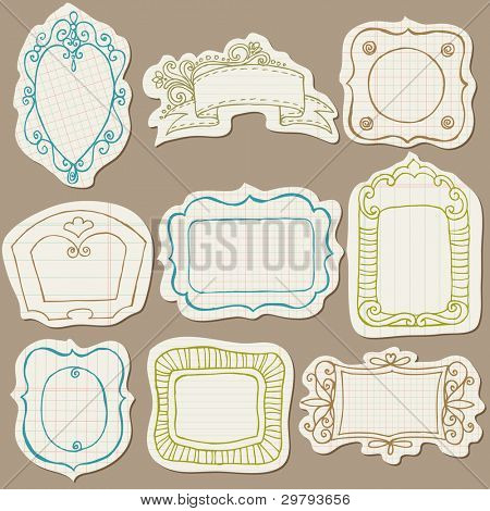 Set of Doodle Frames on torn paper - with Flower Elements in vector