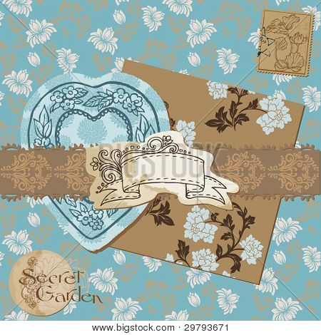Scrapbook Design Elements - Vintage Flower Wallpapers and Vintage Elements in vector