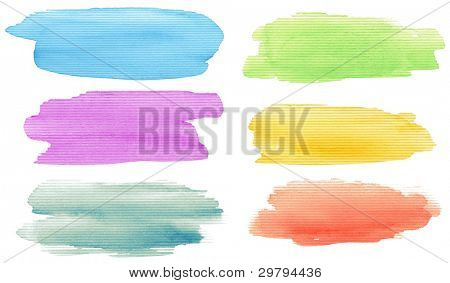Watercolor hand painted brush strokes set. Isolated on white background.