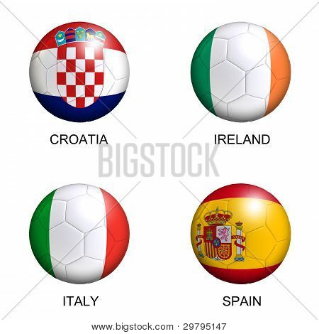 Soccer Balls With European Flags Of Group C Euro 2012 Over White