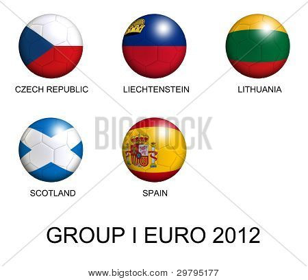 Soccer Balls With European Flags Of Group I Euro 2012 Over White