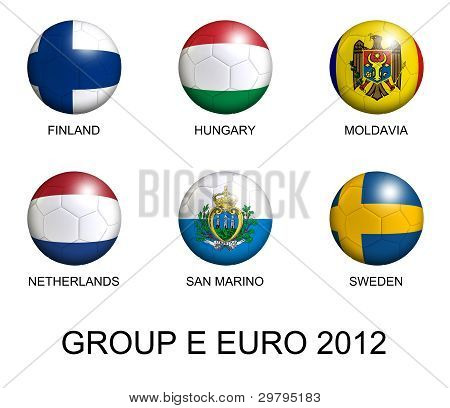 Soccer Balls With European Flags Of Group E Euro 2012 Over White