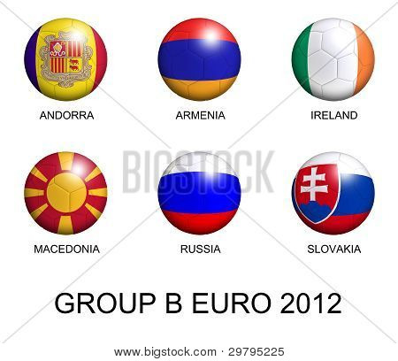 Soccer Balls With European Flags Of Group B Euro 2012 Over White