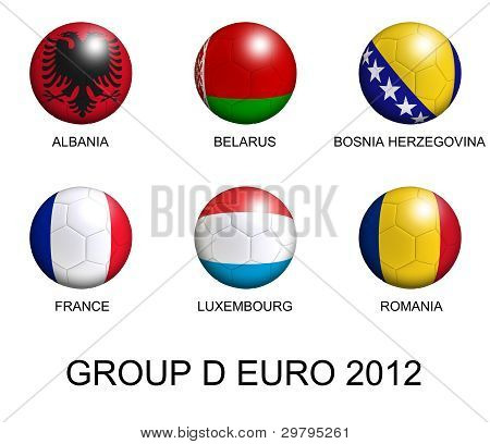 Soccer Balls With European Flags Of Group D Euro 2012 Over White