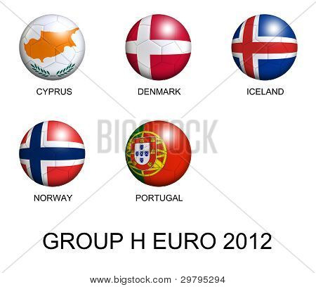 Soccer Balls With European Flags Of Group H Euro 2012 Over White