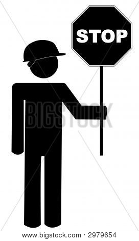 Stick Man With Construction Hat N Stop Sign