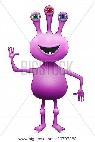 Purple Three-eyed Extraterrestrial Alien