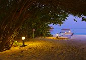 stock photo of sunset beach  - Jetty beach at sunset - Maldives vacation background