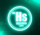 Hassium Chemical Element. Sign With Atomic Number And Atomic Weight. Chemical Element Of Periodic Ta poster