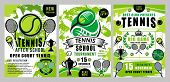Tennis Sport Vector Green Halftone Posters. Tennis School Training, Team Club Tournament Or League B poster
