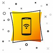 Black Smartphone With Free Wi-fi Wireless Connection Icon On White Background. Wireless Technology,  poster