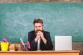 Teacher Bearded Mature Schoolmaster Listening With Attention. Teacher Formal Wear Sit At Table Class poster