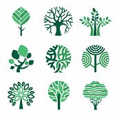 Tree Logo. Green Eco Symbols Nature Wood Tree Stylized Vector Pictures. Eco Wood Tree, Organic Natur poster