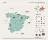 Vector Map Of Spain. High Detailed Country Map With Division, Cities And Capital Madrid. Political M poster
