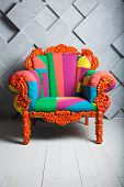 Concept Of Luxury And Success With Multi Colored Velvet Armchair, Boss Place. poster