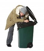 Poor Homeless Man Digging In Trash Bin Isolated On White poster