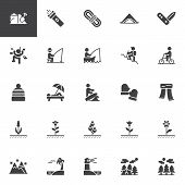Outdoors, Recreation Vector Icons Set, Modern Solid Symbol Collection, Filled Style Pictogram Pack.  poster