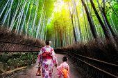 Kyoto, Japan Culture Travel - Asian Traveler Wearing Traditional Japanese Kimono Walking In Arashiya poster