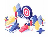 Customer Attraction Strategy Isometric Illustration. Targeting Advertising Settings, Sales Growth, T poster