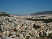 picture of akropolis  - View of Athens greece from atop the Akropoli lookin at Syntagma city centre and Kolonaki hill - JPG